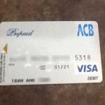 Mặt trước của thẻ (Số thẻ và tên chủ thẻ đã bị làm mờ)