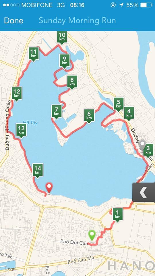 Bản đồ chạy bộ chinh phục Hồ Tây lần 2 của Tuấn