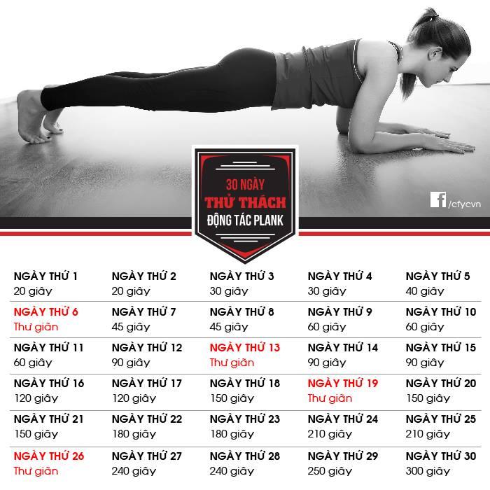 30 ngày thử thách động tác plank
